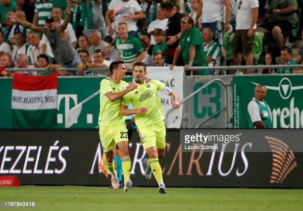 Arijan Ademi of GNK Dinamo Zagreb celebrates his goal with Nikola Moro of GNK Dinamo Zagreb during the UEFA Champions League Third Qualifying Round...