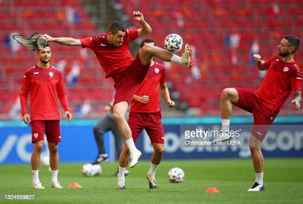 Arijan Ademi of North Macedonia in action during the North Macedonia Training Session ahead of the UEFA Euro 2020 Group C match between North...