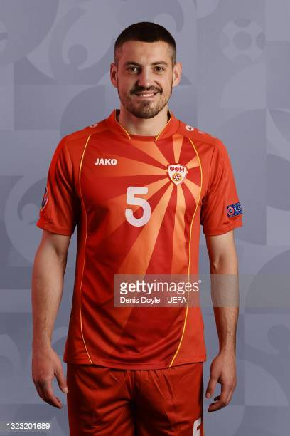 Arijan Ademi of North Macedonia poses during the official UEFA Euro 2020 media access day at JW Marriot on June 09, 2021 in Bucharest, Romania.