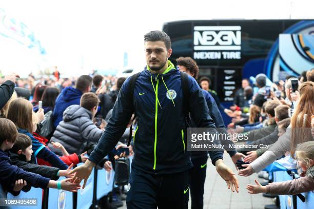 Arijanet Muric of Manchester City arrives at the stadium prior to the FA Cup Fourth Round match between Manchester City and Burnley at Etihad Stadium...