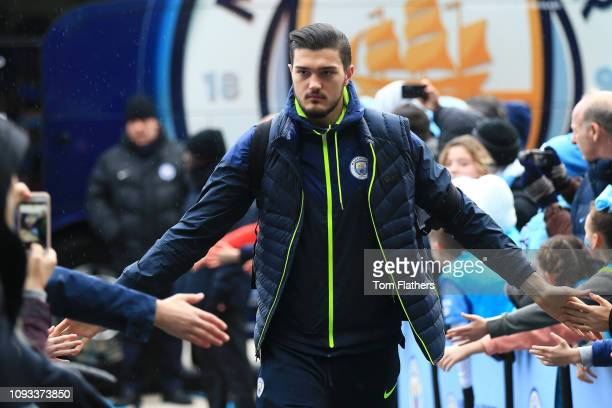 Arijanet Muric of Manchester City arrives at the stadium prior to the Premier League match between Manchester City and Arsenal FC at Etihad Stadium...