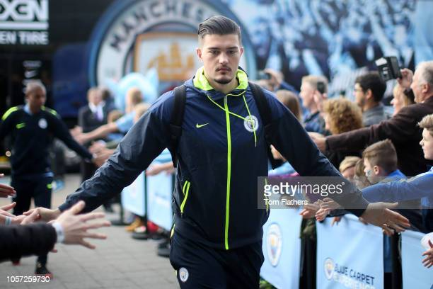 Arijanet Muric of Manchester City arrives during the Premier League match between Manchester City and Southampton FC at Etihad Stadium on November 4...