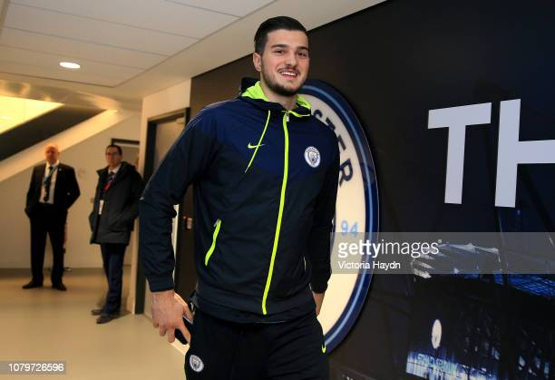 Arijanet Muric of Manchester City arrives prior to the Carabao Cup Semi Final First Leg match between Manchester City and Burton Albion at Etihad...