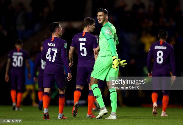 Arijanet Muric of Manchester City celebrates victory with Phil Foden of Manchester City after the Carabao Cup Third Round match between Oxford United...