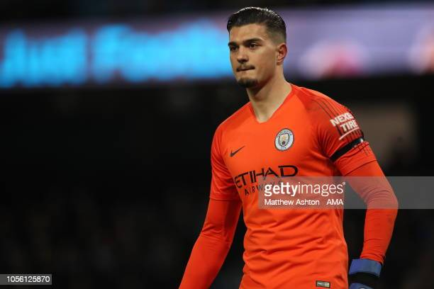 Arijanet Muric of Manchester City during the Carabao Cup Fourth Round match between Manchester City and Fulham at Etihad Stadium on November 1 2018...