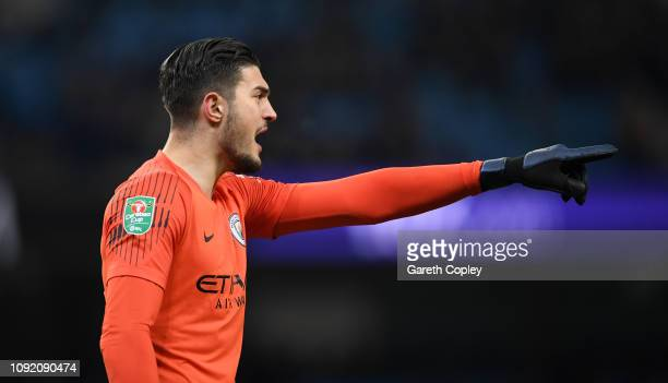 Arijanet Muric of Manchester City during the Carabao Cup Semi Final First Leg match between Manchester City and Burton Albion at Etihad Stadium on...