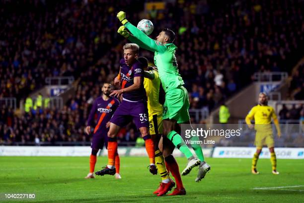 Arijanet Muric of Manchester City fails to punch the ball during the Carabao Cup Third Round match between Oxford United and Manchester City at...