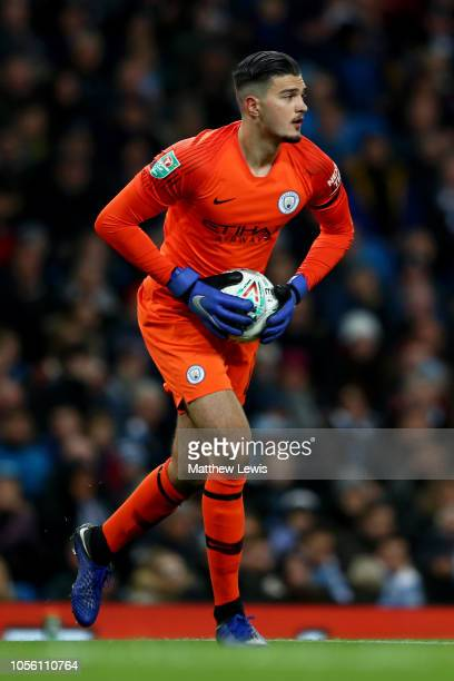Arijanet Muric of Manchester City gathers the ball during the Carabao Cup Fourth Round match between Manchester City and Fulham at Etihad Stadium on...