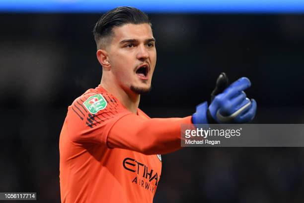 Arijanet Muric of Manchester City gives his team instructions during the Carabao Cup Fourth Round match between Manchester City and Fulham at Etihad...
