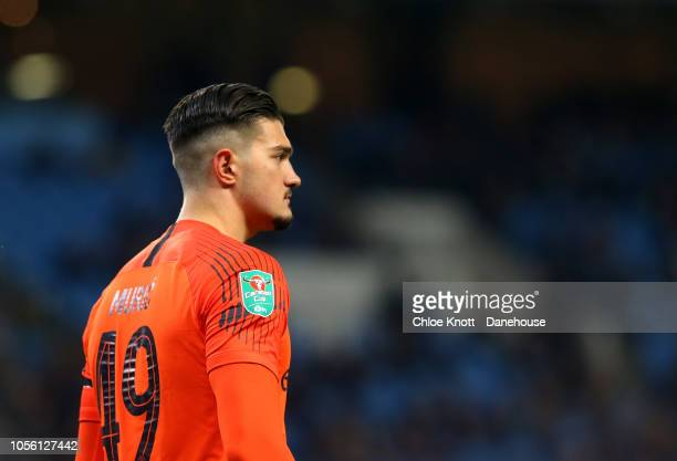 Arijanet Muric of Manchester City in action during the Carabao Cup Fourth Round match between Manchester City and Fulham at Etihad Stadium on...