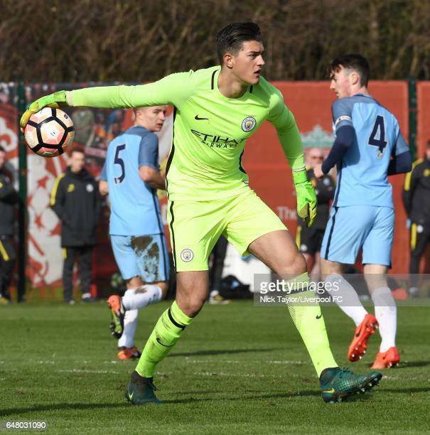 Arijanet Muric of Manchester City in action during the Liverpool v Manchester City U18 Premier League game at The Kirkby Academy on March 4 2017 in...