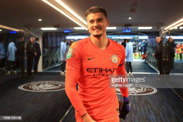 Arijanet Muric of Manchester City looks on from the tunnel after the Carabao Cup Fourth Round match between Manchester City and Fulham at Etihad...