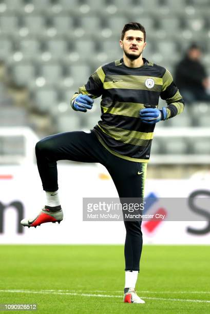 Arijanet Muric of Manchester City warms up prior to the Premier League match between Newcastle United and Manchester City at St James Park on January...