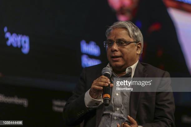 Arijit Basu managing director of State Bank of India speaks during a panel discussion at the Bloomberg India Economic Forum in Mumbai India on...