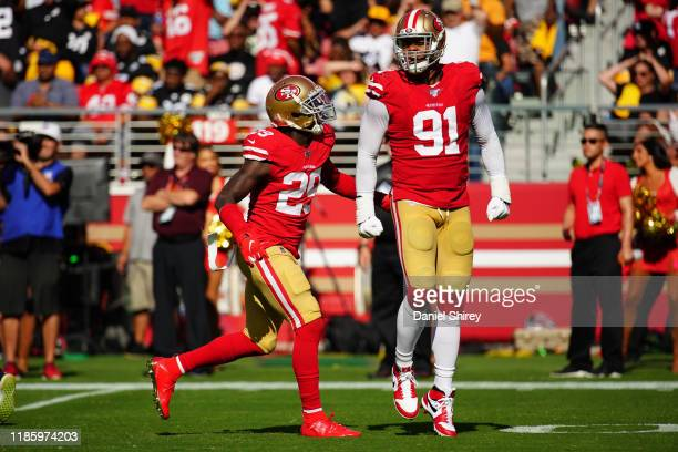 Arik Armstead and Jaquiski Tartt of the San Francisco 49ers react to a play during the game against the Pittsburgh Steelers at Levi's Stadium on...