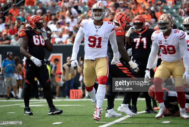 Arik Armstead of the San Francisco 49ers celebrates after a sack against the Cincinnati Bengals at Paul Brown Stadium on September 15 2019 in...
