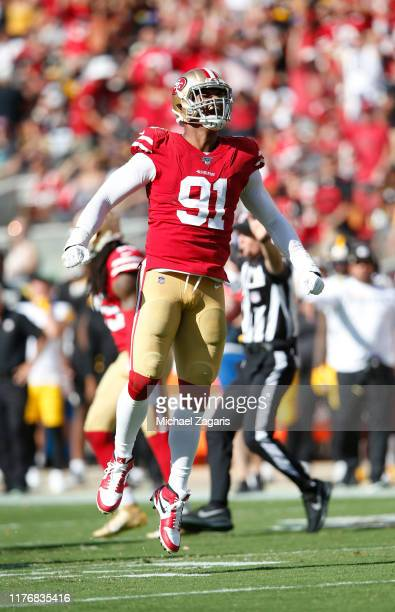 Arik Armstead of the San Francisco 49ers celebrates after forcing a fumble during the game against the Pittsburgh Steelers at Levi's Stadium on...