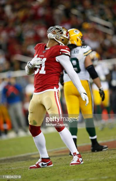 Arik Armstead of the San Francisco 49ers celebrates after sacking he quarterback during the game against the Green Bay Packers at Levi's Stadium on...