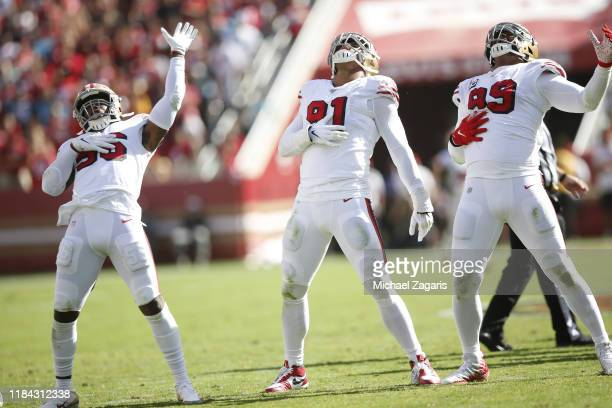Arik Armstead of the San Francisco 49ers celebrates with teamamtes after sacking Kyle Allen of the Carolina Panthers during the game at Levi's...