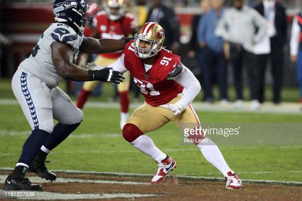 Arik Armstead of the San Francisco 49ers in action during the game against the Seattle Seahawks at Levi's Stadium on November 11 2019 in Santa Clara...