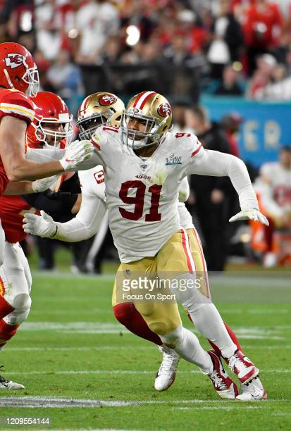 Arik Armstead of the San Francisco 49ers pursues the play against the Kansas City Chiefs in Super Bowl LIV at Hard Rock Stadium on February 02 2020...