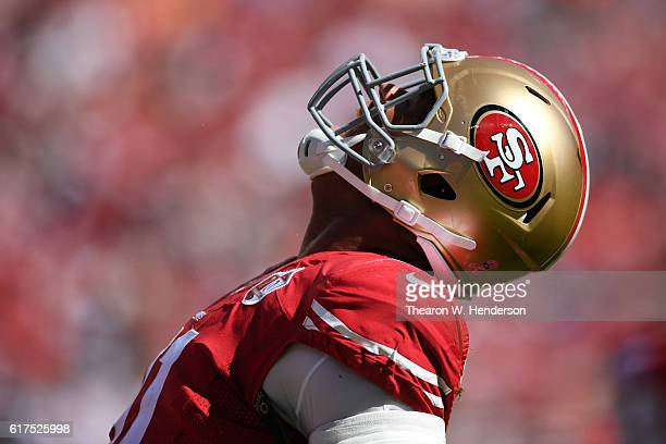 Arik Armstead of the San Francisco 49ers reacts after a sack of Jameis Winston of the Tampa Bay Buccaneers during their NFL game at Levi's Stadium on...
