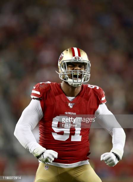 Arik Armstead of the San Francisco 49ers reacts after making a tackle against the Green Bay Packers at Levi's Stadium on November 24 2019 in Santa...
