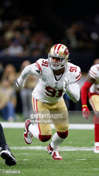 Arik Armstead of the San Francisco 49ers rushes the quarterback during the game against the New Orleans Saints at the MercedesBenz Superdome on...