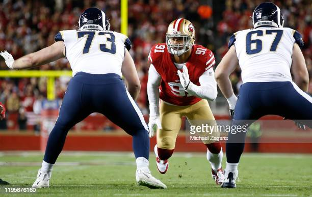 Arik Armstead of the San Francisco 49ers rushes the quarterback during the game against the Los Angeles Rams at Levi's Stadium on December 21 2019 in...