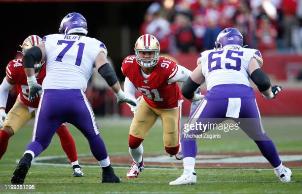 Arik Armstead of the San Francisco 49ers rushes the quarterback during the game against the Minnesota Vikings at Levi's Stadium on January 11 2020 in...