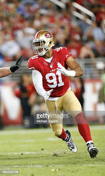 Arik Armstead of the San Francisco 49ers rushes the quarterback during the game against the Seattle Seahawks at Levi Stadium on October 22 2015 in...