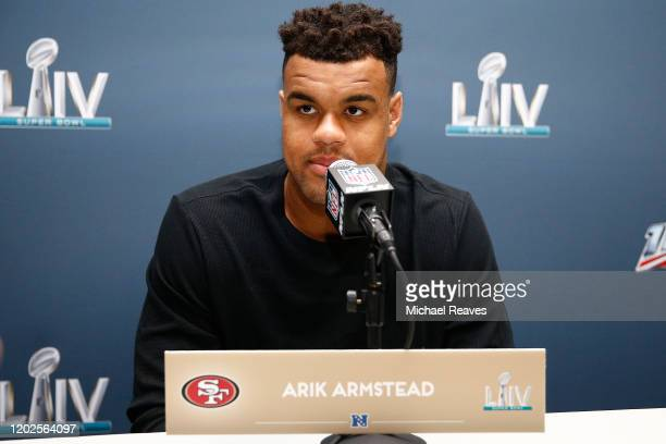Arik Armstead of the San Francisco 49ers speaks to the media during the San Francisco 49ers media availability prior to Super Bowl LIV at the James L...