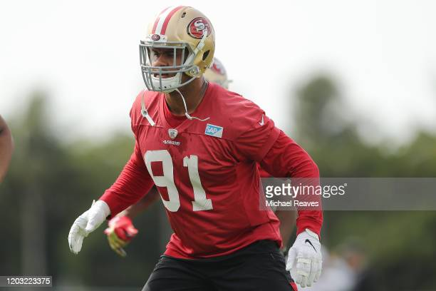 Arik Armstead of the San Francisco 49ers stretches during practice for Super Bowl LIV at the Greentree Practice Fields on the campus of the...