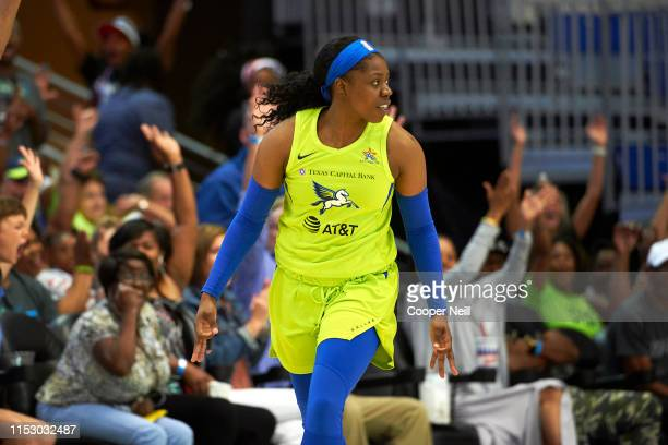 Arike Ogunbowale of Dallas Wings reacts to a play during the game against the Minnesota Lynx on June 30 2019 at the College Park Center in Arlington...