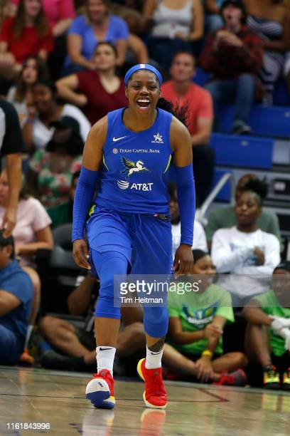 Arike Ogunbowale of Dallas Wings reacts to a play during the game against the Los Angeles Sparks on August 14 2019 at the College Park Arena in...
