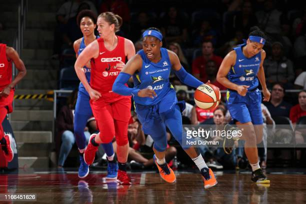 Arike Ogunbowale of the Dallas Wings drives to the basket against the Washington Mystics on September 6 2019 at the St Elizabeths East Entertainment...