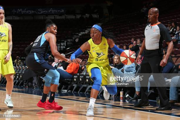 Arike Ogunbowale of The Dallas Wings handles the ball against the Atlanta Dream on May 13 2019 at the Mohegan Sun Arena in Uncasville Connecticut...