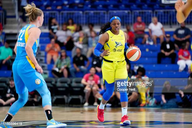 Arike Ogunbowale of the Dallas Wings handles the ball against the Chicago Sky on July 14 2019 at College Park Center in Arlington Texas NOTE TO USER...