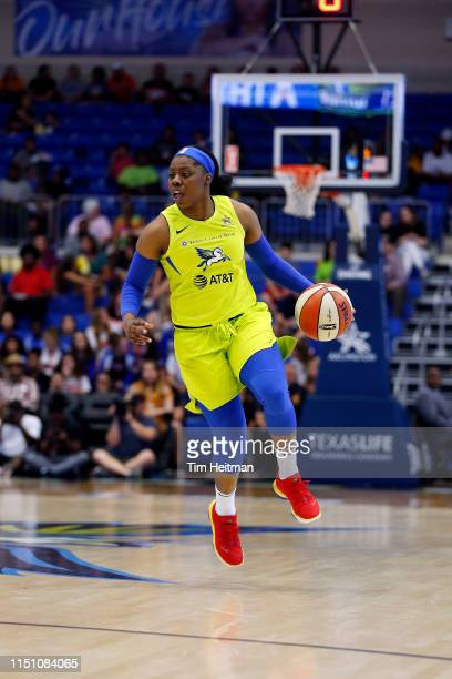 Arike Ogunbowale of the Dallas Wings handles the ball during the game against the Phoenix Mercury on June 20 2019 at the College Park Arena in...