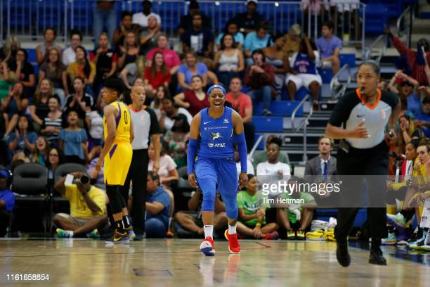 Arike Ogunbowale of the Dallas Wings reacts during the game against the Los Angeles Sparks on August 14 2019 at the College Park Arena in Arlington...
