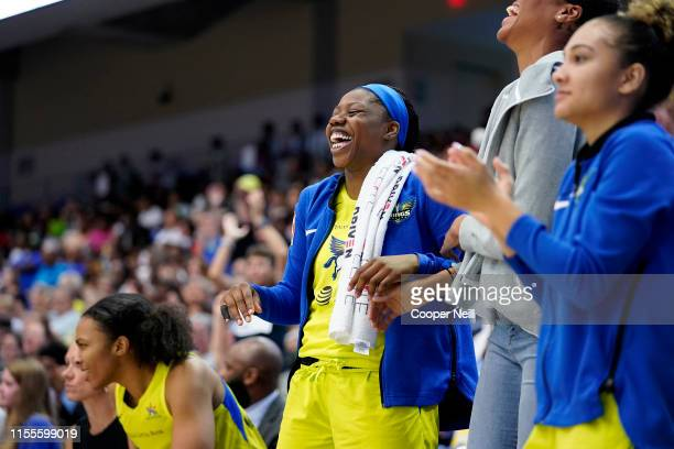 Arike Ogunbowale of the Dallas Wings reacts to a play during the game against the Chicago Sky on July 14 2019 at College Park Center in Arlington...