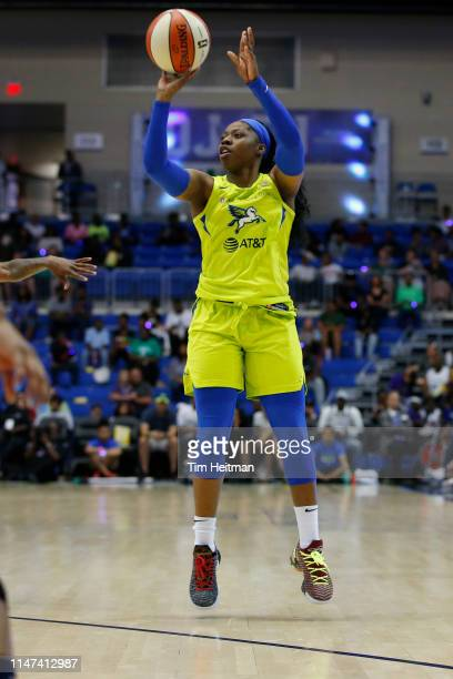 Arike Ogunbowale of the Dallas Wings shoots the ball against the Minnesota Lynx on June 1 2019 at the College Park Arena in Arlington Texas NOTE TO...
