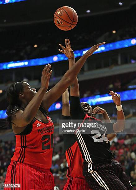 Arike Ogunbowale of the East team shoots against Kalani Brown of the West team during the 2015 McDonalds's All American Game at the United Center on...