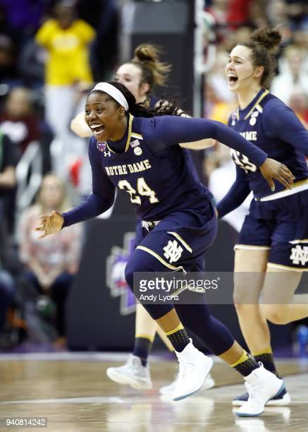 Arike Ogunbowale of the Notre Dame Fighting Irish celebrates after scoring the game winning basket with 0.1 seconds remaining in the fourth quarter...