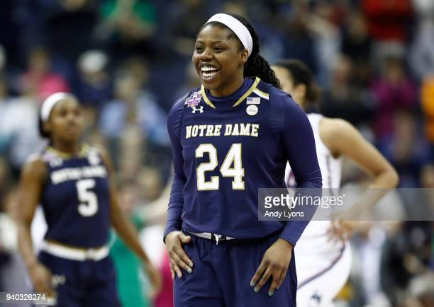 Arike Ogunbowale of the Notre Dame Fighting Irish celebrates against the Connecticut Huskies during the second half in the semifinals of the 2018...