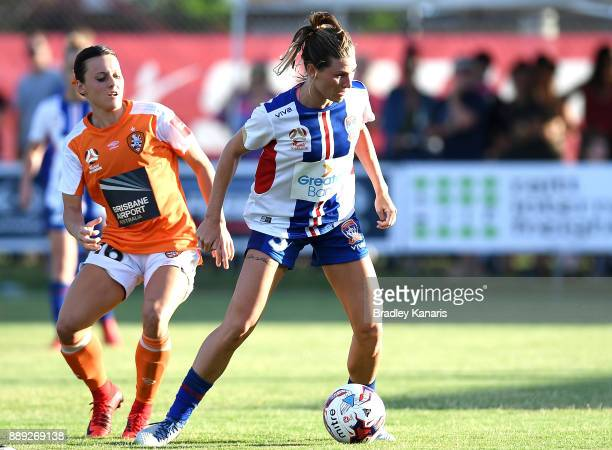 Arin Gilliland of the Jets looks to take on the defence during the round seven WLeague match between the Brisbane Roar and the Newcastle jets at AJ...
