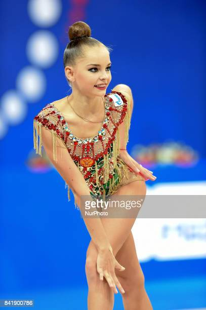 Arina Averina competes during the 35th Rhythmic Gymnastics World Championships at Adriatic Arena on 29 August 2017 in Pesaro Italy
