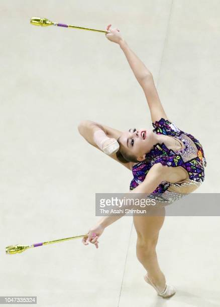 Arina Averina of Gazprom and Russia competes in the Clubs in the AllAround final on day three of the Rhythmic Gymnastics AEON Cup at Takasaki Arena...