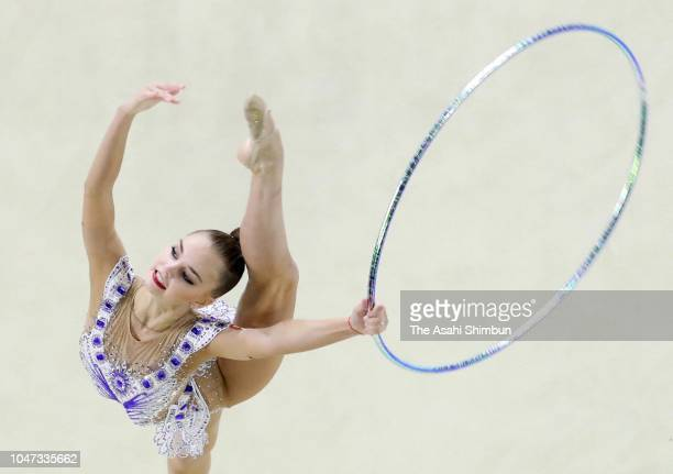 Arina Averina of Gazprom and Russia competes in the Hoop in the AllAround final on day three of the Rhythmic Gymnastics AEON Cup at Takasaki Arena on...