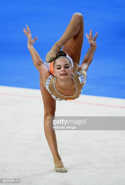 Arina Averina of Russia competes during the Rhythmic Gymnastics Women's Individual Ball Qualification of The World Games at Centennial Hall on July...